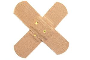 ontsmetten van snij- en schaafwondjes